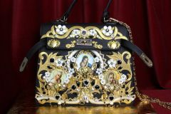SOLD! 3502 Baroque Madonna Virgin Mary Cameo Embellished Crystal Heart Tote Crossbody Handbag