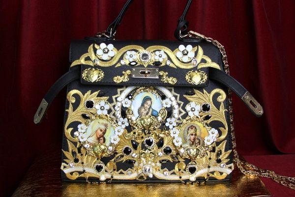 SOLD! 3502 Baroque Madonna Virgin Mary Cameo Embellished Crystal Heart Tote Crossbody Handbag