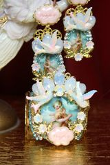 3507 Set Of Earrings+ Vintage Hand Painted Cameo Cherubs Doves Pearl Cuff Bangle