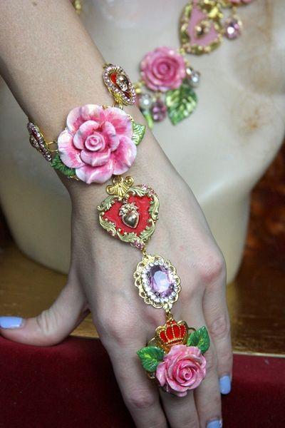 3570 Zibellini Slave Total Baroque Hand Painted Rose Heart Trendy 2018 Crystal Roses Bracelet