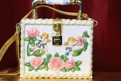 3568 Baroque Cherubs Hand Painted Rose Trunk Handbag