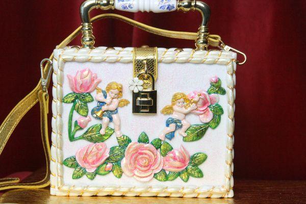 3568 Baroque Cherubs Hand Painted Rose Trunk Handbag