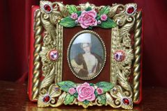 SOLD! 3587 Hand Painted Victorian Cameo Frame Roses Vintage Style Handbag Trunk