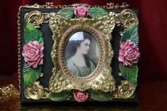 SOLD! 3586 Hand Painted Victorian Cameo Frame Roses Vintage Style Handbag Trunk