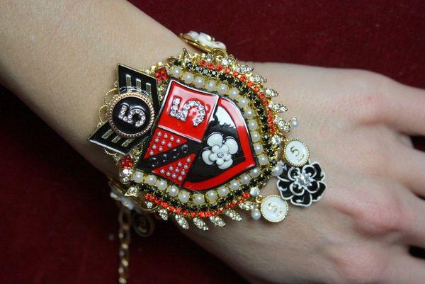 3632 Byzantine Madam Coco Huge Unusual Shield Crystal Bracelet