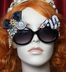 3637 Baroque Rococo Crystal Snake Bow Brooches Embellished Sunglasses