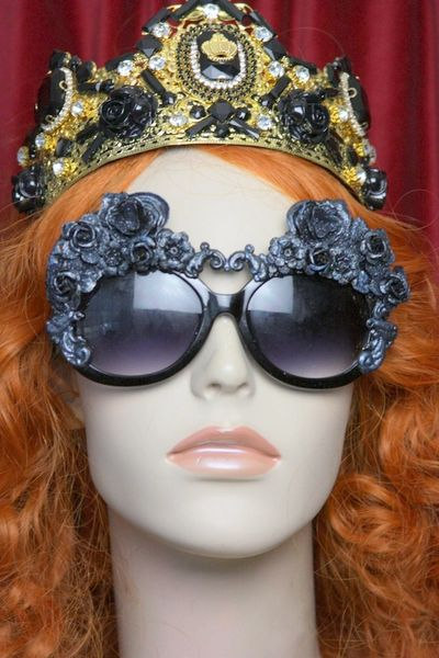 3641 Baroque Rococo Black Glitter Roses Curves Embellished Sunglasses