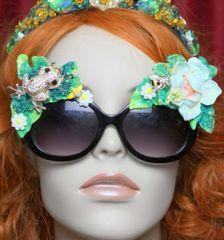 3652 Art Nouveau Embellished Pearl Enamel Crystal Frog Unusual Sunglasses