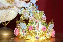 3676 Set Of Earrings + Marie Antoinette Hand Painted MAsk Pink Crystal Flower Crown Headband