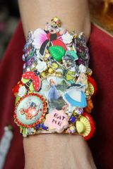 SOLD! 3682 Set Of Tall Alice In Wonderland Cuff+ Earrings