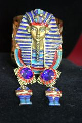 SOLD! 3779 Set Of Hand Painted Egyptian Pharaoh Bangle+ Matching Earrings