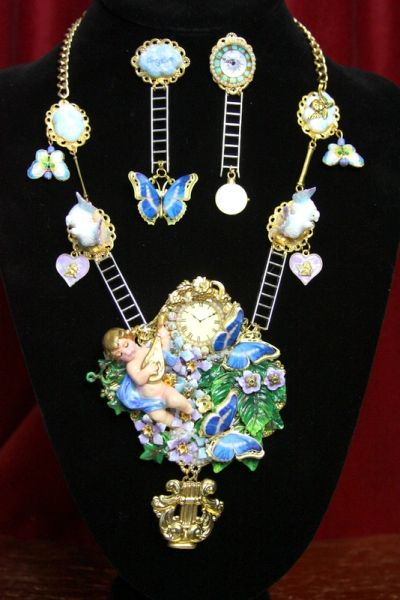 3788 Set Of Hand Painted Cherub Watch Butterfly Dove 3D Effect Statement Necklace+ Earrings