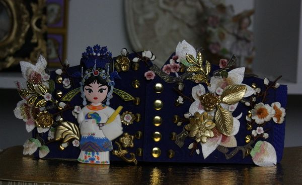 53 Asian Sakura Embellished Corset Blue Belt Size M, L
