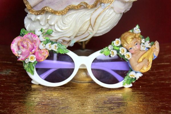 3835 Baroque Hand Painted Musical Cherub Mandolin Lilly Of The Valley Rose Embellished Sunglasses