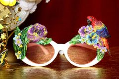 3850 Baroque Hand Painted Parrot Flowers Embellished Sunglasses