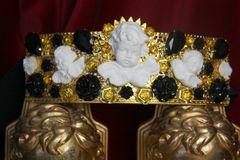 SOLD! 3860 Runway 2018 White Baroque Cherubs Angels Black Crystal Filigree Embellished Waist Belt
