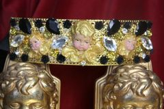 SOLD! 3869 Runway 2018 White Baroque Cherubs Angels Black Crystal Filigree Embellished Waist Belt