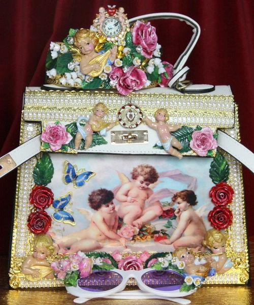 SOLD! 3876 Baroque Hand Painted Vivid Musical Cherubs Angels Roses Embellished Tote Crossbody Handbag