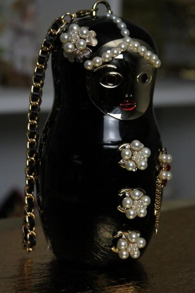 SOLD! 55 Runway Russian Doll Matryoshka Perfume Bottle Eye - Catch Purse Handbag