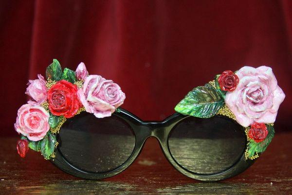 3948 Baroque Vivid Hand Painted Roses Leaf Embellished Sunglasses