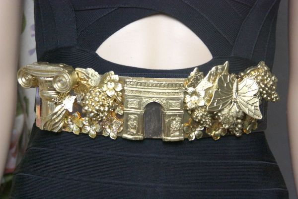 SOLD! 4003 Roman Column Gold Grapes Butterfly Corset Waist Belt
