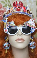 SOLD! 4024 Nautical Hand Painted Ship Seagull Embellished Sunglasses