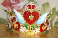 SOLD! 4061 Baroque Runway Heart Wings Hand Painted Crown Headband