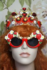 4065 Baroque Strawberry Flowers Red Embellished Sunglasses
