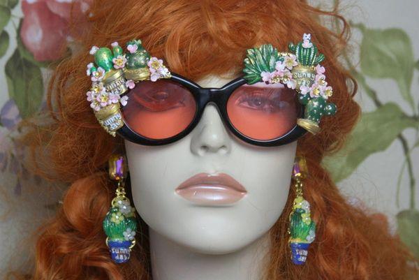 4092 Arizona Cacti Flowers Hand Painted Unusual Embellished Sunglasses