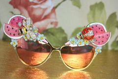SOLD! 4132 Baroque Pink Watermelon Bee Ladybug Embellished Sunglasses