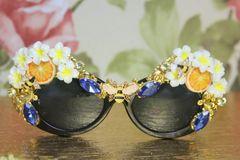 4171 Baroque Orange Fruit Enamel Bees Embellished Sunglasses