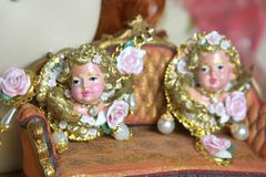 SOLD! 4174 Zibellini Total Baroque Chubby Hand Painted Cherub Angel Roses Bracelet