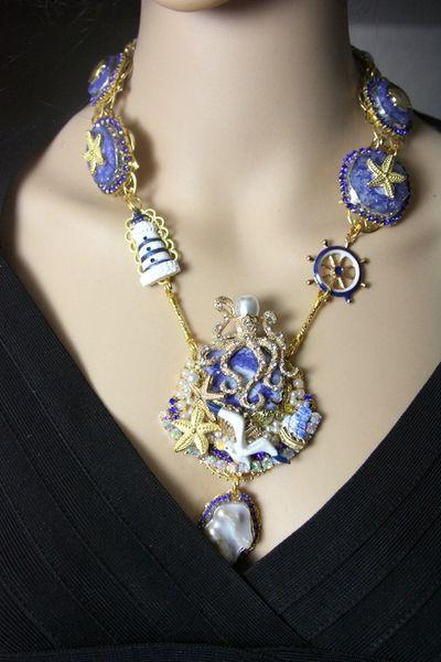 4196 Genuine Solar /quartz Octopus Nautical Marine Necklace+ Earrings