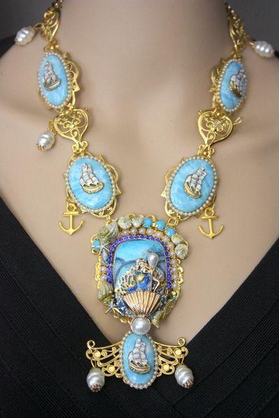 4233 Set Of Genuine Caribbean Larimar Mermaid Nautical Baroque + Earrings