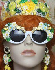 4255 Baroque Lemon Fruit Yellow Crystal Embellished White Sunglasses