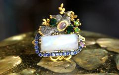SOLD! 4272 Genuine Moonstone Baroque Bird Gold Embellished Adjustable Cocktail Huge Ring