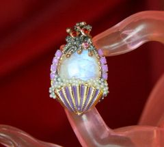 4339 Genuine Moonstone Sterling Silver Baroque Octopus Nautical Pearl Embellished Adjustable Cocktail Huge Ring