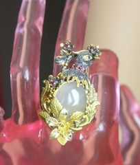 4340 Massive Genuine Chalcedony Bird Sterling Silver Adjustable Cocktail Ring