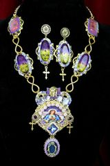 4346 Set Of Stained Glass Saint Genuine Tourmaline Fire Labradorite Church Necklace+ Earrings