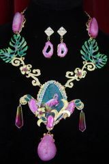 4351 Set Of Genuine Hand Painted Agate Tourmaline Unique Pink Flamingo Sterling Silver Unique Necklace + Earrings