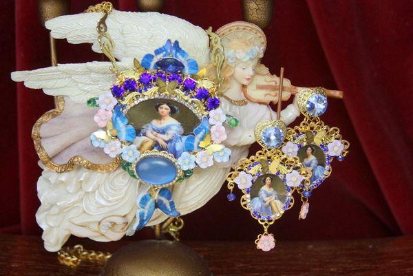 4366 Set Of Victorian Renaissance Royal Butterfly Fire Labradorite Necklace+ Earrings