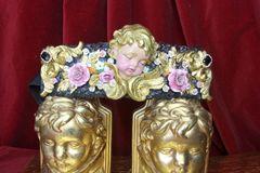 4368 Baroque Vivid Huge Cherub Angel Hand Painted Roses Crystal Waist Belt Size L, XL