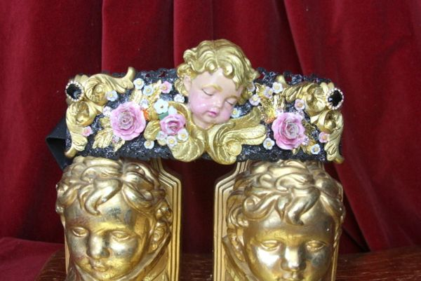 4368 Baroque Vivid Huge Cherub Angel Hand Painted Roses Crystal Waist Belt Size L, XL