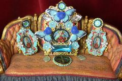 4373 Set Of Stained Glass Virgin Mary Butterfly Huge Crystal Brooch+ Earrings