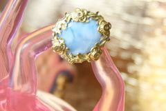 4379 Genuine Caribbean Larimar Sterling Silver Baroque Cocktail Huge Ring Size 7,5