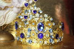 SOLD! 4385 Baroque Blue crystal Flower Leaf Crystal Crown Headband
