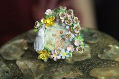 4392 Victorian Clock Flowers Bunny Hand Painted Cocktail Huge Ring