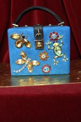 3217 Velvet Square Box Blue Insect and Frog Purse/Handbag