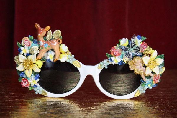 4411 Art Nouveau Peculiar Deer Garden Cherub Embellished Sunglasses