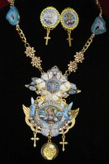 4445 Set Of Stained Glass Virgin Mary Butterfly Agate Necklace + Earrings